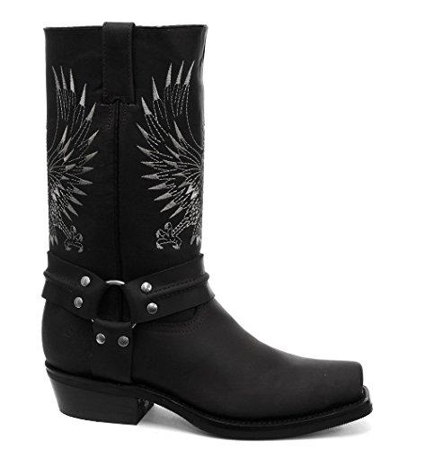 Grinders Unisex Hommes Femmes Aigle Noire a Tete Blanche Style Biker Cowboy Bottes occidentaux Western Bottes en cuir