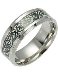 Vintage Luminous Dragon design in acciaio INOX Classic Band anello per uomo donna Amesii