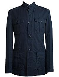 Mens Navy Blue Linen Safari Style Utility Military Jacket