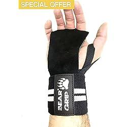 BEAR GRIP-Guantes protectores de cuero Crossfit, vendas kinéticas de soporte y estabilidad de la muñeca, ideales para Fitness WOD,levantamiento de pesas,Powerlifting. Diseño único que se ajusta a