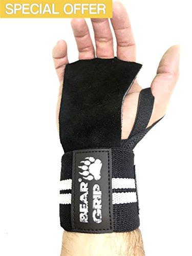 BEAR GRIP-Guantes protectores de cuero Cross Training, vendas kinéticas de soporte y estabilidad de la muñeca, ideales para Fitness WOD,levantamiento de pesas,Powerlifting. Diseño único que se ajusta a