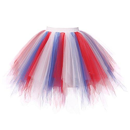 Vintage Weiße Tüll (Changuan Frauen Vintage kurze Petticoat Rock Ballett Bubble Tutu mehrfarbige Pettiskirt Größe XXL Rot-Weiß-Blau)
