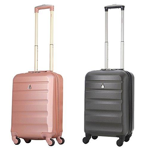 Aerolite ABS Bagage Cabine à Main Valise Rigide Léger 4 Roulettes, Set de 2 (Rose Or + Charbon)