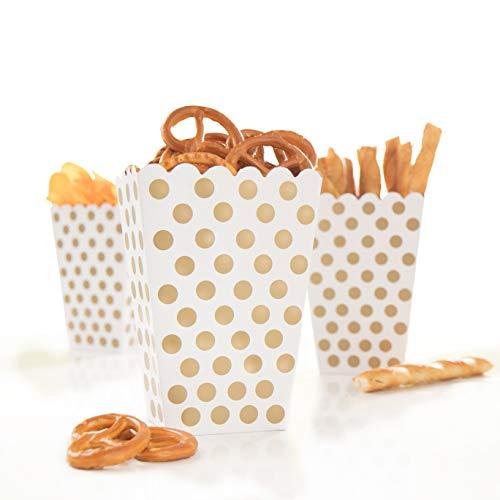 PartyMarty 24x Snackbox Popcorn Tüte Happy Dots in Gold - wunderschöne Boxen mit Punkten für Snacks, Süßigkeiten, Popcorn & Geschenke GmbH® -