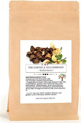 Kräutertee aromatisiert Moringa Star Natürlich 250 g | Moringa Detox mit Orange-Limette-Geschmack Nachfüllpack | Loser Tee im Kraftpapierbeutel