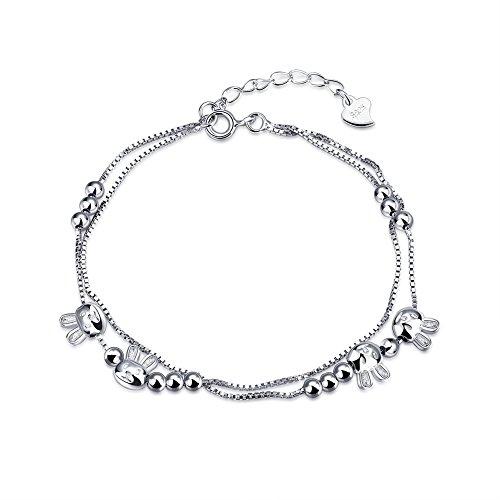 iLove EU 925 Sterling Silber Armband Link Handgelenk Silber Niedlich Hase Häschen Quadrat Kugel Herz Charm Charme Damen
