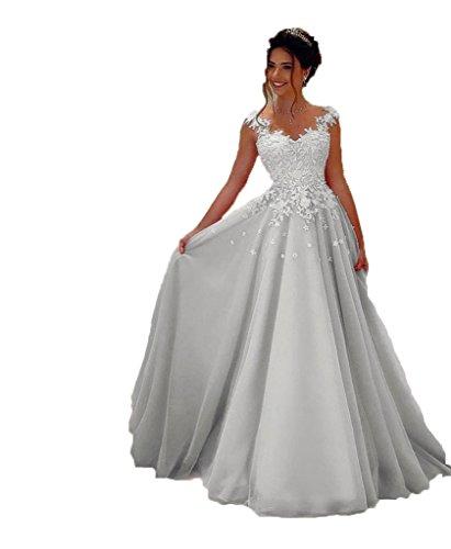 NUOJIA Damen Prinzessin Ballkleider Lange mit Appliques Party kleid Silber 34