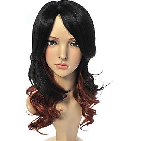 OOFAY JF® fabricantes mujer vino al por mayor falsa cabeza roja pera gradiente peluca de la manera pelo rizado , t-red wine