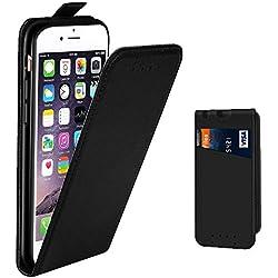 Coque iPhone 6, Coque iPhone 6S, Supad Etui à rabat protecteur en cuir véritable pour Apple iPhone 6/6S 4,7 (Noir)