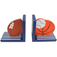 Hoddmimis Home & Living Wooden Bookends for Kids (Balls Themed,Set of 2) - Metal Silver Desk Clock