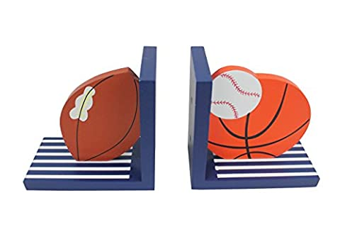 Hoddmimis Home & Living Balls Themed Wooden Bookends for Kids (Set of 2)