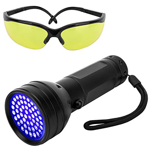 Pawaboo UV Blacklight Flashlight, 51 LED Ultraviolet 395nm UV Hand-held Detecting Torch for Pet Urine, Bed Bugs, Stains, Verifying Money Documents, UV Protecting Glasses Included, Black -