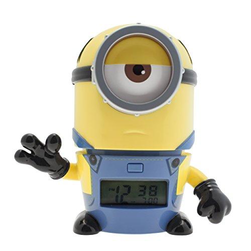(BulbBotz Ich - einfach unverbesserlich 3 2021234 Mel Kinder-Wecker mit Nachtlicht und typischem Geräusch , gelb/blau , Kunststoff , 14 cm hoch , LCD-Display , Junge/ Mädchen , offiziell)