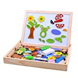 Alytimes Wooden Magnetic Jigsaw Puzzles Games Toddler Toys Double Sided Drawing Easel