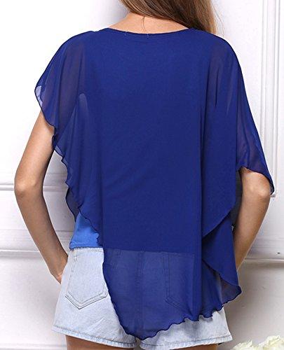 Blusenshirt Weiblich Mode Freizeit Rundhals Einfarbig Oberteile Fake zwei  Stücke unregelmäßigen Blusen Fledermausärmeln Chiffon Hemden TShirt Pulli  Blau