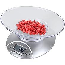 Orbegozo PC1009 - Báscula electrónica para cocina, bol transparente, máximo 3 kgs., color plateado