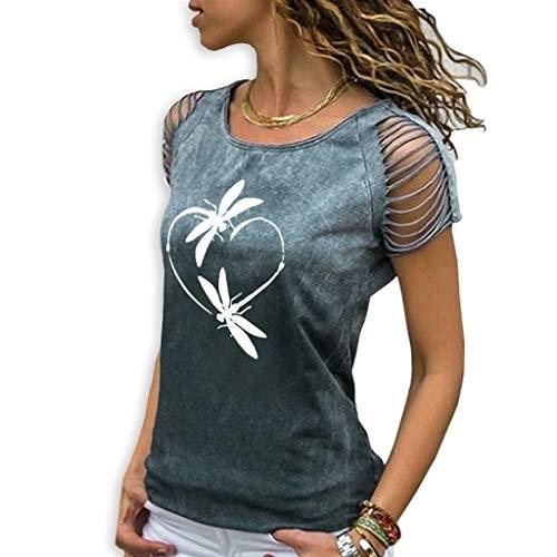 Haughtily Frauen Bedrucktes T-Shirt mit Farbverlauf und Ausschnitten Rundhalsausschnitt Kurzarm Plus Size Slim Fit Pullover Oberteile Bluse -