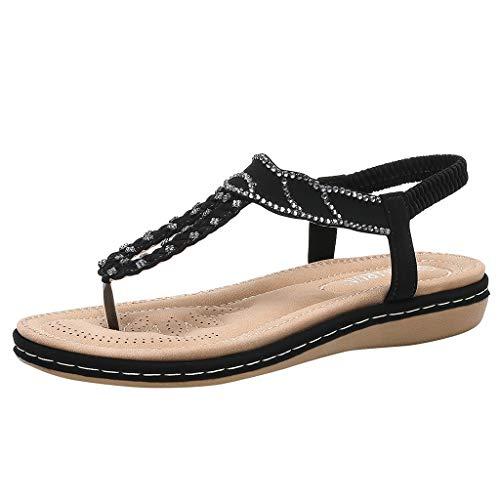 Sommer Freizeitschuhe Boho Sandalen Frauen,Strandschuhe Gummiband Flache,Casual Clip-Toe Sandalen Open-Toe mit Strass URIBAKY