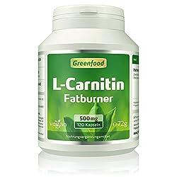 L-Carnitin, 500 mg, hochdosiert, 120 Vegi-Kapseln - der König der Fatburner. Gewonnen durch Fermentation. OHNE künstliche Zusätze. Ohne Gentechnik. Vegan.
