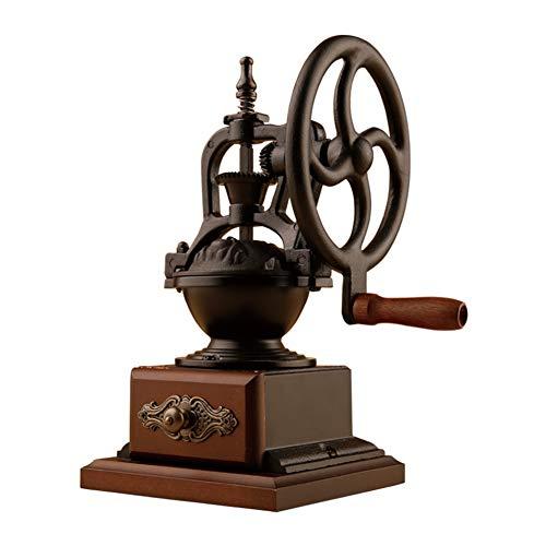 Vintage Manual Coffee Grinder, Vintage Style Wooden und Cast Iron Coffee Grinder Roller Grain Hand Crank, Schleifeinstellungen und Catch Drawer, Labor-sparen Vintage Coffee Grinder