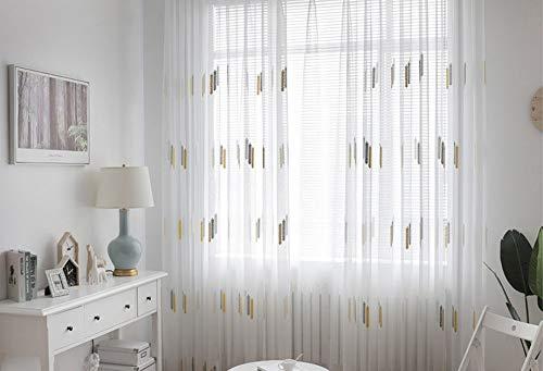 BW0057 Vorhang, durchsichtig, Stickerei-Stange für Küchen-Esszimmer, Breite (1 Paneel B 127 x L 204,Zoll), Polyester-Mischgewebe, weiß, 50 * 63 Inch, 1 Panel - 78-zoll-gardinenstange