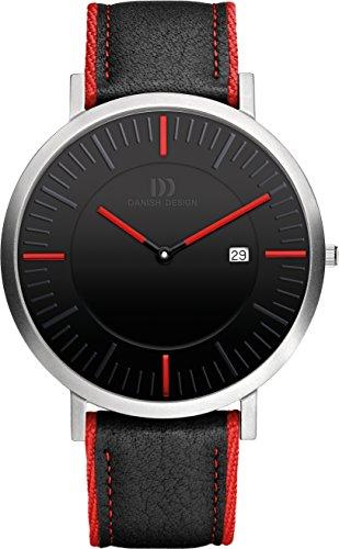 Danish Design Men's Quartz Watch with Black Dial Analogue Display and Black Leather Strap DZ120248