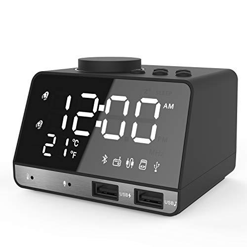 Digital Wecker,ANOLE Bluetooth Radiowecker Tisch Funk Uhr mit Bluetooth 4.2/Aux/TF-Karte/U-Disk Spielen,FM Radio,Einstellbare Helligkeit und Dual USB für iOS/Android Telefon und Tablets(Schwarz)