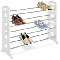 Whitmor 6486-1744-WHT Floor Shoe Stand, White, 20-Pair by Whitmor