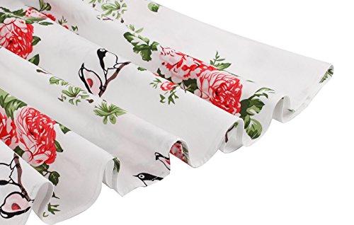 1950s Abiti da Donna,Vernassa 50s Vestito da Swing dell'abito di Sera di promenade del cotone del cotone di stile di Hepburn di stile classico,Multicolor,Formato S-4XL 1396-Fiore di uccelli bianchi