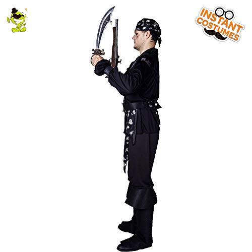 GAOGUAIG AA Halloween Party Schwarz Piraten Kostüm for Erwachsene Mann Rolle Spielen Coole Piraten Kleidung Halloween Kostüme Maskerade Pirat for Mann SD (Color : Onecolor, Size : Onesize)