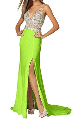 Olidress Women's V-neck Backless Split Evening Dress Cocktail Party Dress Lime Green US26 (Lime-grün-cocktail-kleid)