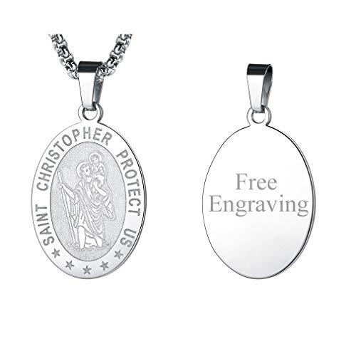 FaithHeart St. Christophorus Plakette, feinversilbert Anhänger mit Lange Halskette, Amulette Kette für Auto Personalisierte Geschenke Kinder - Plakette