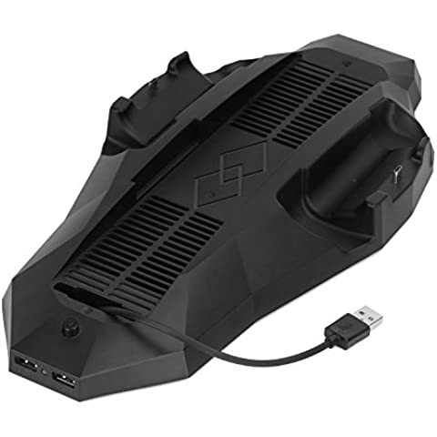 MoKo PS4 PlayStation 4 Ventilador de Refrigeración y Cargador, Vertical Soporte Charging Dock Station con Dual Cooler Fan, 2 Puertos de Carga y 2 de USB para PS4 Consola Dualshock Controlador,