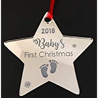 Personalised Baby's First Christmas 2018 - Xmas Chrstmas Tree Decoration Bauble Engraved Gift Baby 1st Christmas Christma Gift - L1412