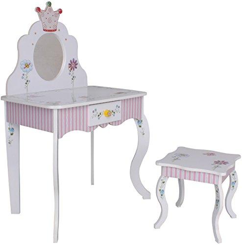 SCHMINKTISCH #988 Kinderschminktisch Frisiertisch Kindertisch ROSA WEISS Prinzessin Spiegel Sitzgruppe Hocker habeig®