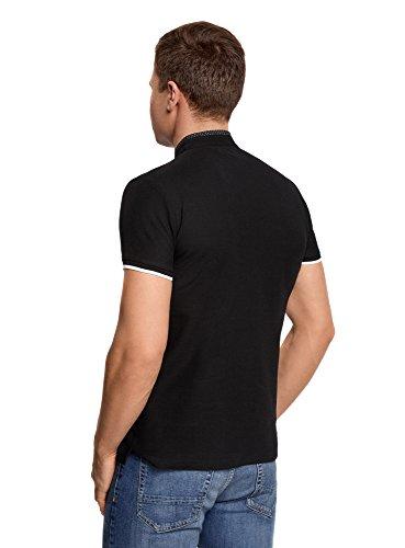 oodji Ultra Herren Poloshirt mit Stehkragen und Kontrastbesatz Schwarz (2910B)
