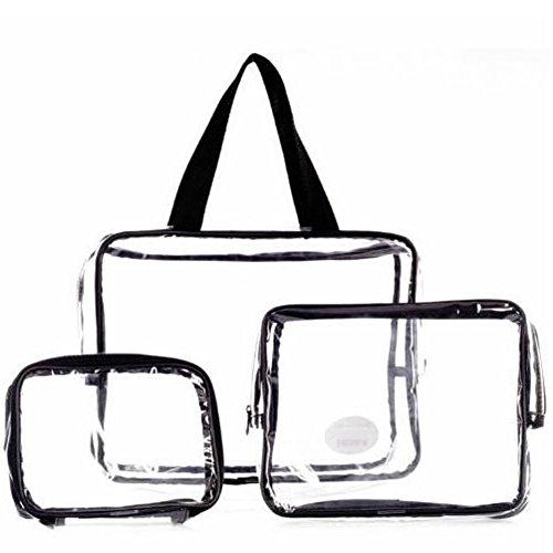 OneMoreT 3-teiliges Set wasserdichte transparente Kosmetiktasche für Frauen, tragbare Kosmetik-Organizer Marke Make-up-Taschen Schwarz
