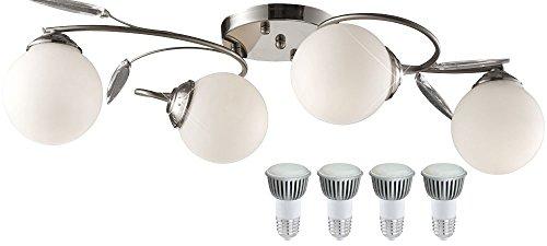 Decken Leuchte Chrom Glas Kugel Esszimmer Tisch Beleuchtung im Set inklusive LED Leuchtmittel