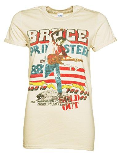 Bruce Springsteen Tour Boyfriendstyle Damen TShirt mit gerollten rmeln Beige (Damen-t-shirt Bruce Springsteen)
