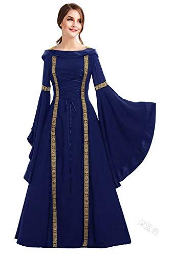 Renaissance Prinzessin Blau Kostüm - Fortunezone Damen Langarm Mittelalter Kleid mit Trompetenärmel und Schnürung, Gothic Viktorianischen Prinzessin Renaissance Bodenlanges MaxiKleid Party Kostüm Blau XXXL