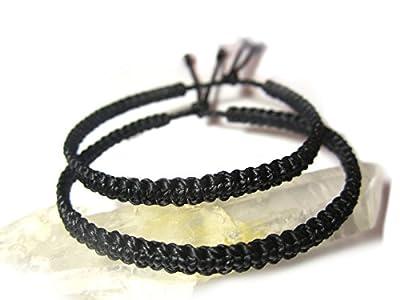 X2 Bracelets brésiliens/amitié/duo/surf/unisexe/en fil noir tissage plat et fin tissés/tressés main en macramé avec du fil ciré Réf.PP+PPpreto