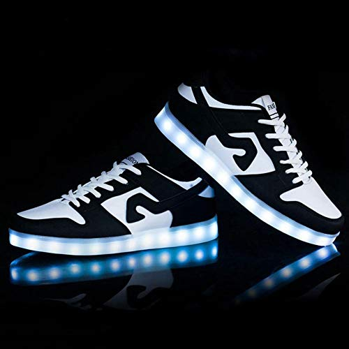 WSXZ LED Light-up Scarpe, Luminosi Sneakers,7 Colori USB Carica Lampeggiante Luminosi Running Sneakers per Uomo E DonnaBlack-41