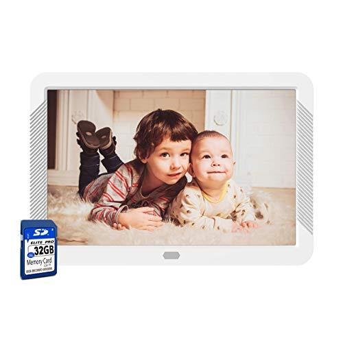 Digitaler Fotorahmen 8 Zoll mit 32 GB SD-Karte NAPATEK Digitaler Bilderrahmen 1920x1080 Hochauflösender 16:9 FHD IPS-Bildschirm Bildvorschau Videokalender Uhr Auto EIN/Aus Timer Fernbedienung