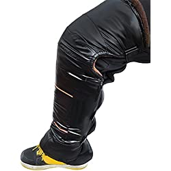 Genouillère en Cuir Hiver Epais Long Manche Kneepad Thermique Doublure en Fourrure Anti-vent Imperméable Garder Genou Jambe au Chaud Sangle Bandage pour Moto Vélo Ski Snowboard - Noir