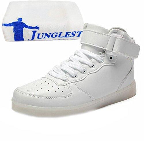 [Présents:petite serviette]JUNGLEST® 11 couleurs LED LUMINEUX Chaussures Hommes Femmes Unisexe Couple Sneakers fashion Casual Chaussures pour Adultes de charg Blanc - blanc