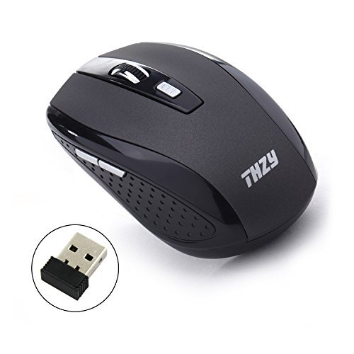 Wireless Mouse,THZY 2.4Ghz Wireless Mouse ottico mobile con 6 tasti, 3 DPI Livelli, USB Wireless ricevitore--grigio scuro
