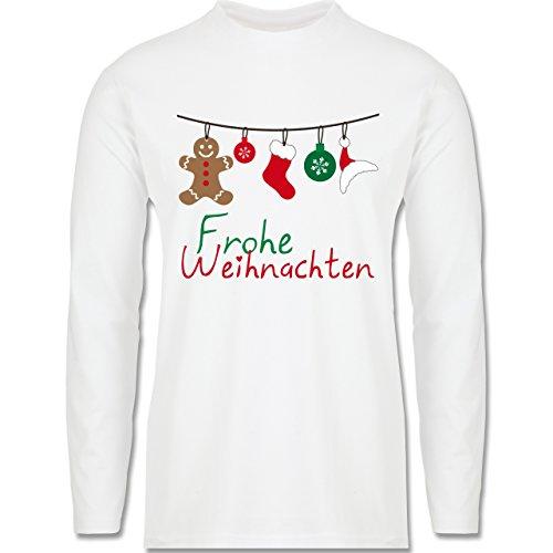 Weihnachten & Silvester - Frohe Weihnachten Girlande - Longsleeve / langärmeliges T-Shirt für Herren Weiß