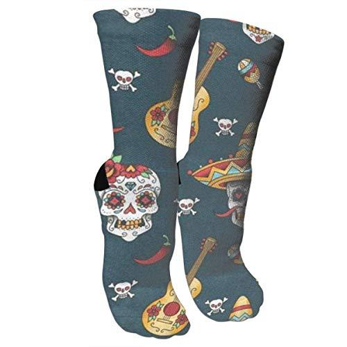 CVDGSAD Happy Halloween Floral Sugar Skulls Athletic Sports Socks,Travel & Flight Socks,Painting Art Printed Funny Socks. (Sugar Skull Halloween)
