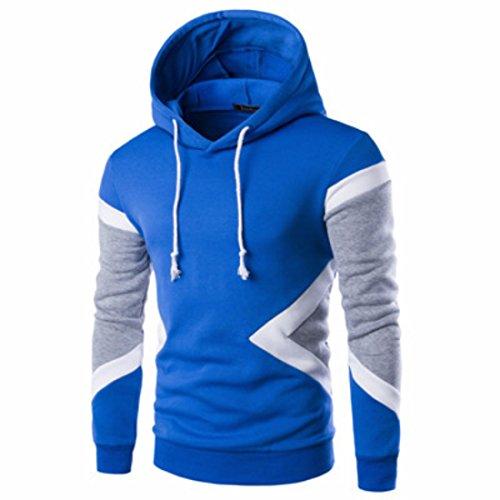 Men's Patchwork Fleece Slim Fit Casual Hoodie blue