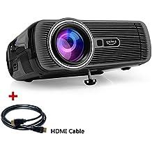 Projecteur vidéo LED, OGIMA 1200 Projecteur Home Lumen avec HDMI gratuit / VGA / USB / SD / HDMI / TV Support 800 * 480 Résolution pour 1080P Home Cinema Théâtre TV Game SD Smartphone Android, 1 AN GARANTIE